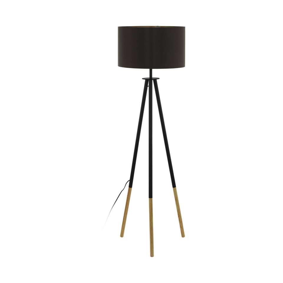 EGLO vloerlamp Bidford - bruin/cappuccino/goudkleurig