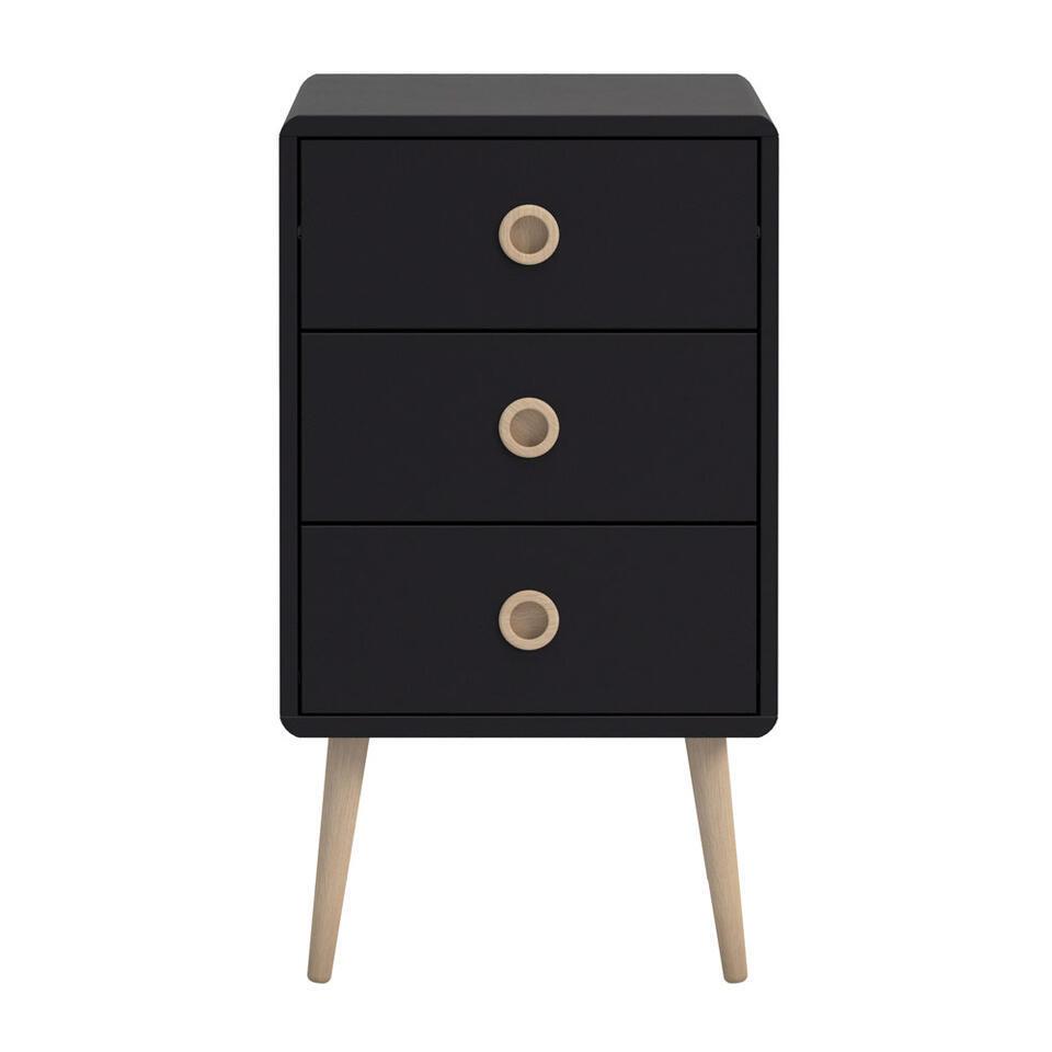 Ladekast Soft Line 3 lades - zwart - 73,2x41,4x39,6 cm