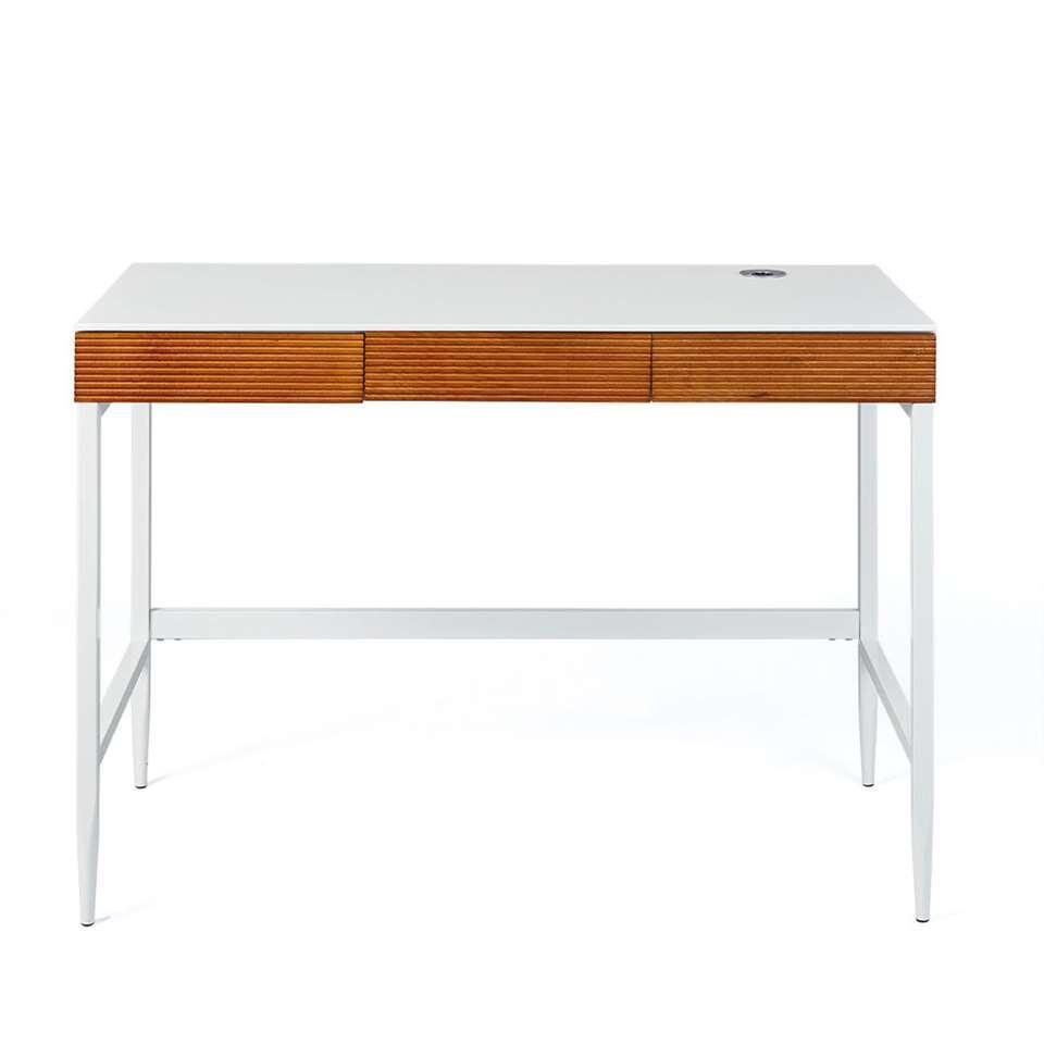 Bureau Scandici - wit/eikenkleur - 76x110x55 cm - Leen Bakker