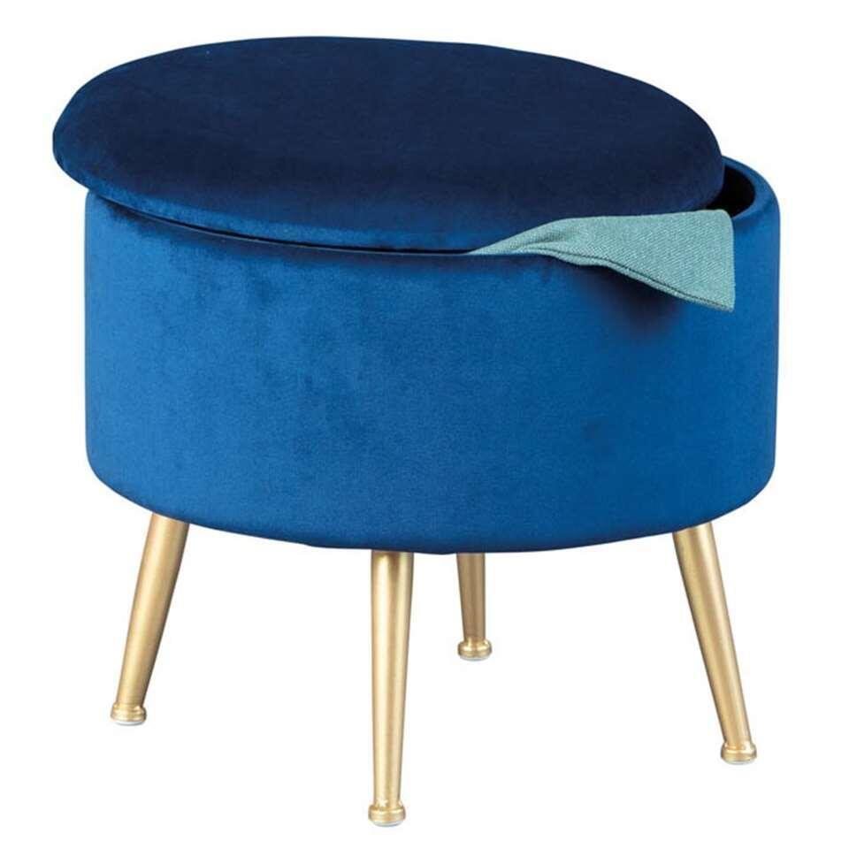 Tabouret Willandra - bleu/couleur or - 38x41x41 cm