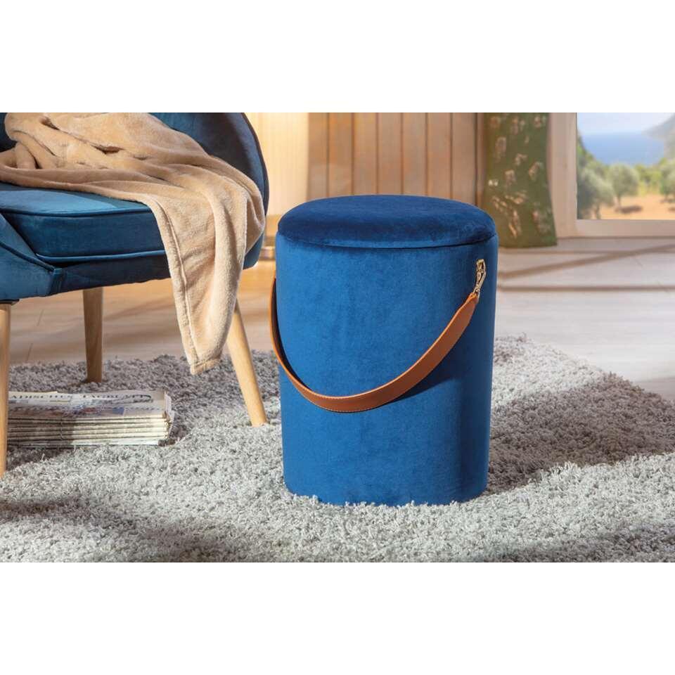 Poef Papua - blauw - 45x35x35 cm