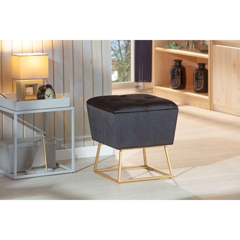 Kruk Surin - zwart/goudkleurig - 42x38x38 cm