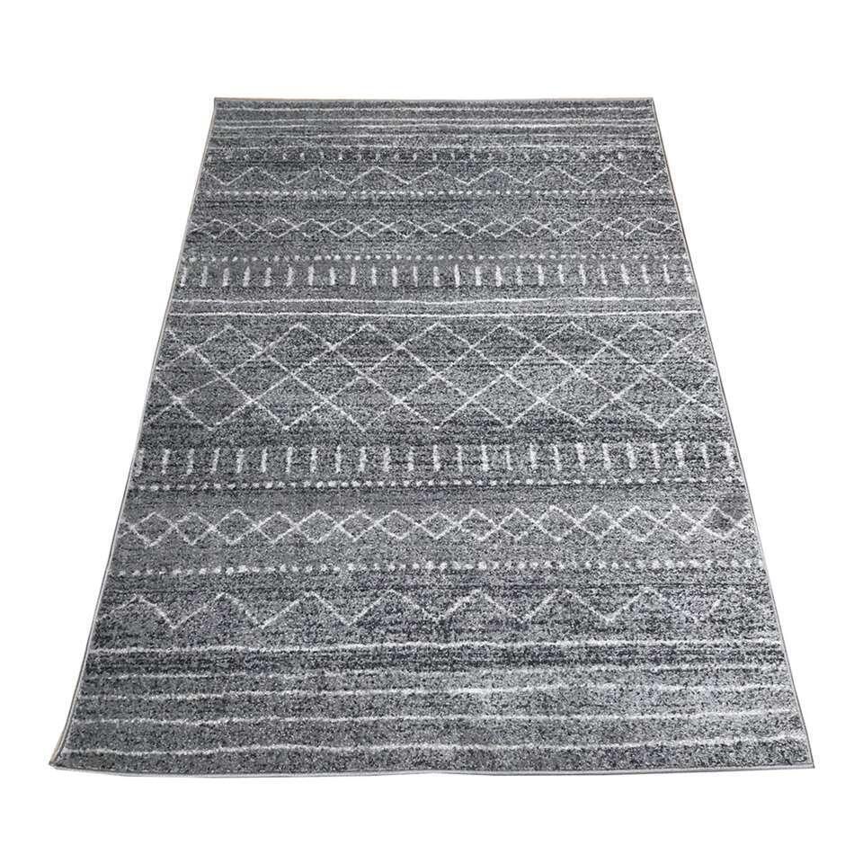 Vloerkleed Louro - donkergrijs - 160x230 cm - Leen Bakker