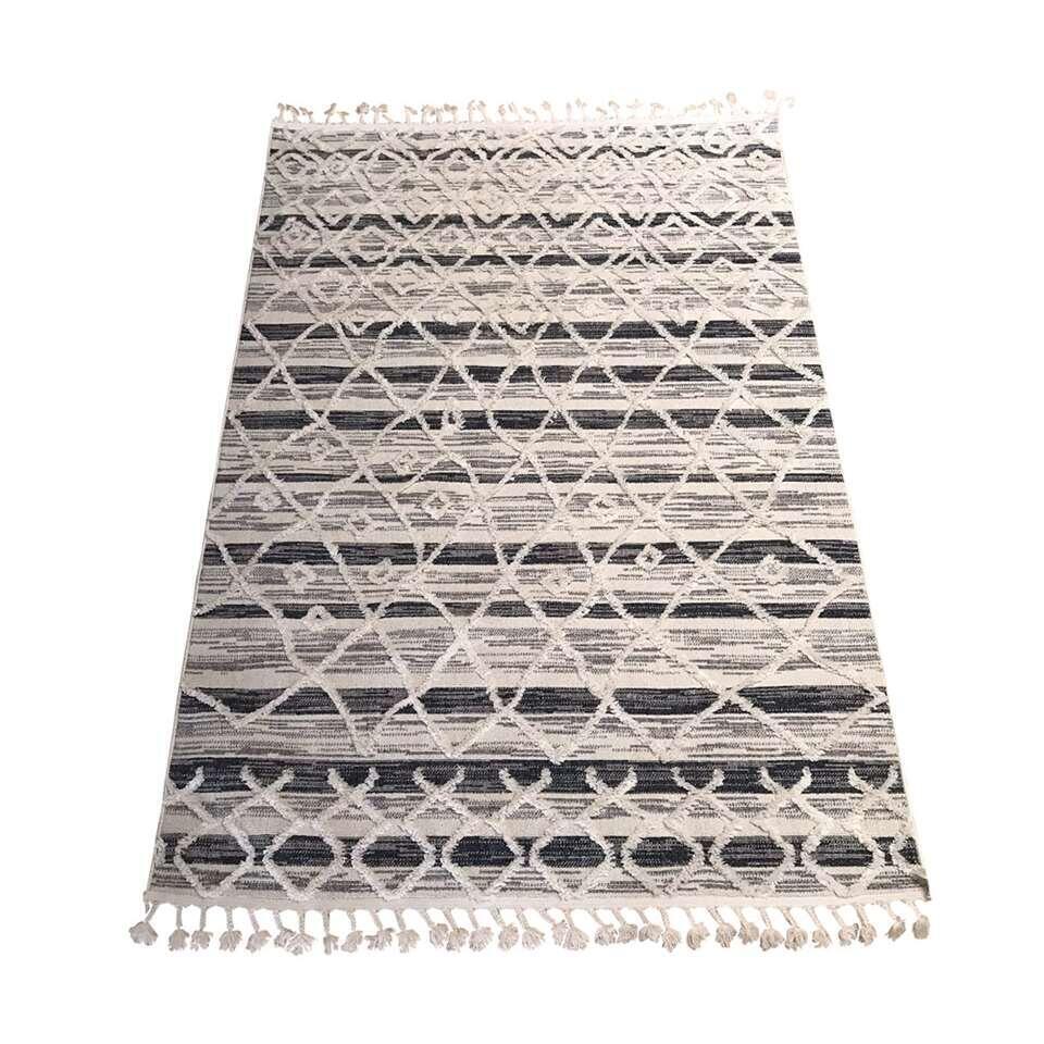 Vloerkleed Terni met print - wit/antraciet - 160x230 cm