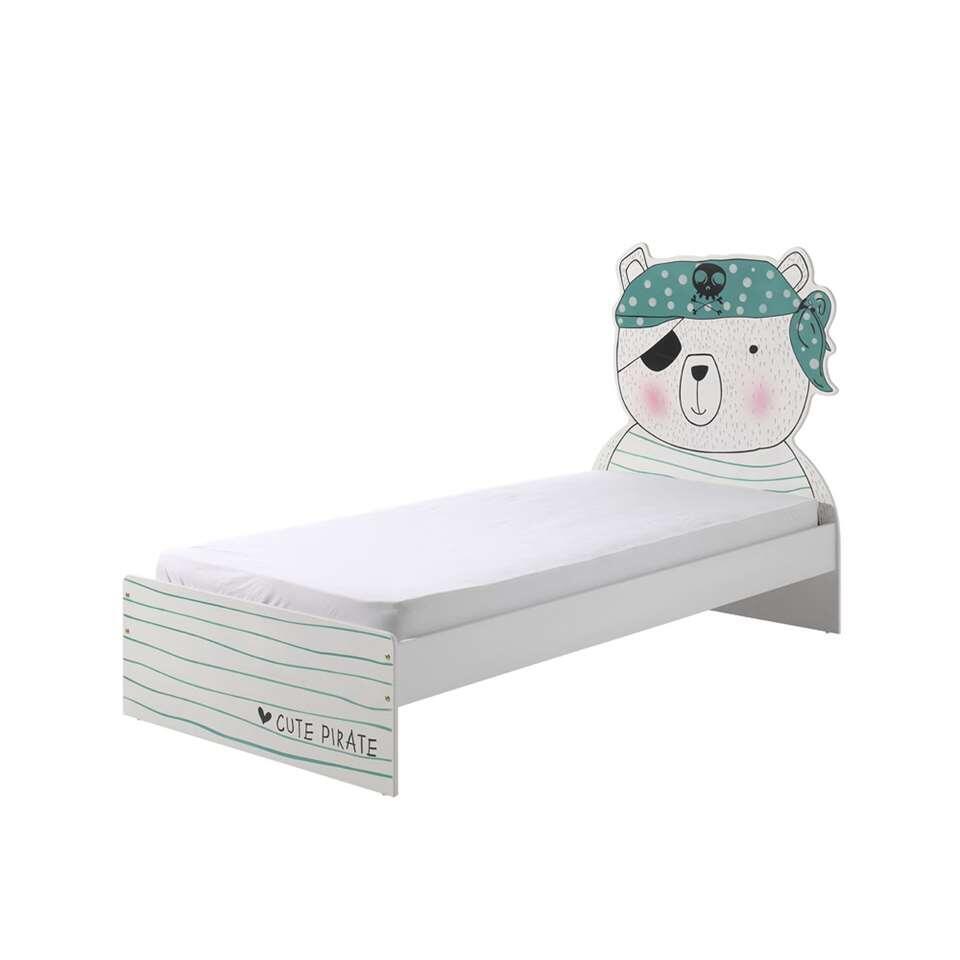 Vipack bed Pirate - wit/groen - 204x121x99 cm - Leen Bakker