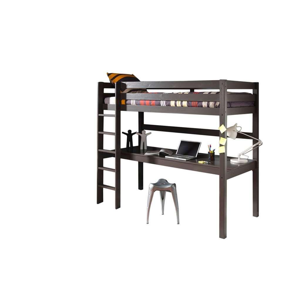 Vipack hoogslaper met bureau Pino - taupe - 209,4x105,4x180 cm - Leen Bakker