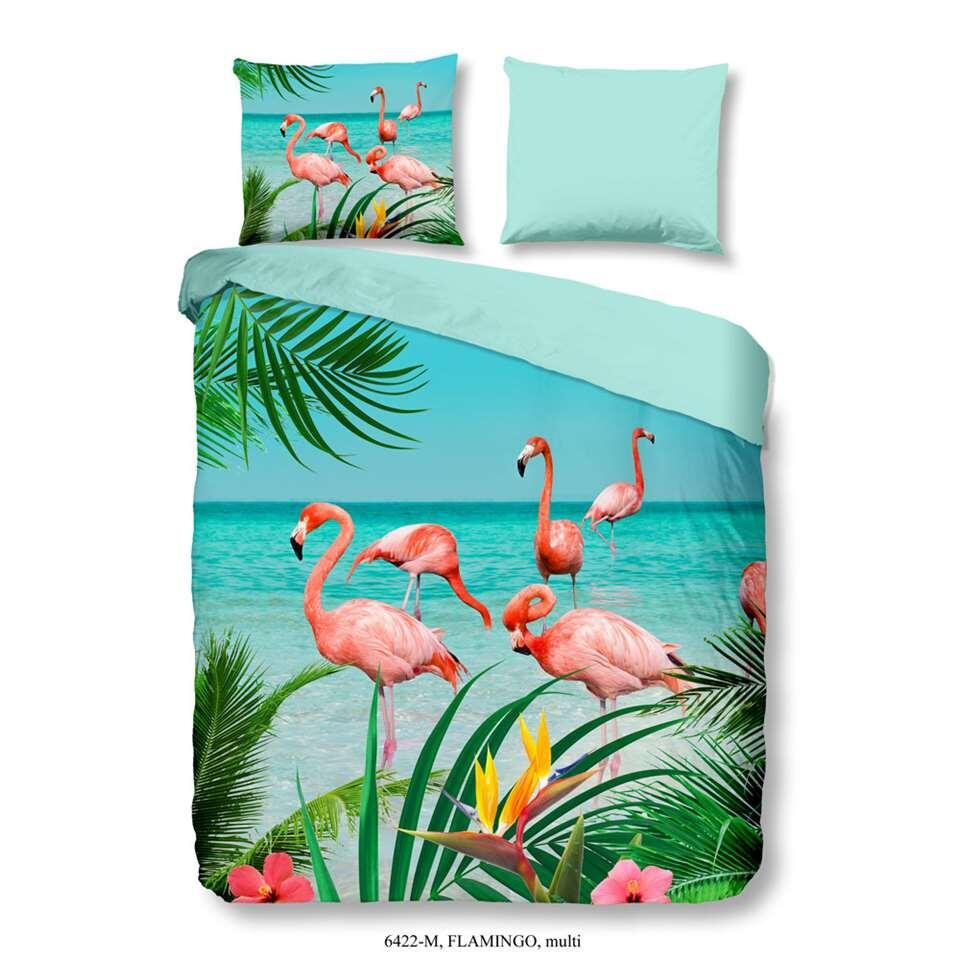 Pure dekbedovertrek Flamingo - multikleur - 200x200/220 cm - Leen Bakker