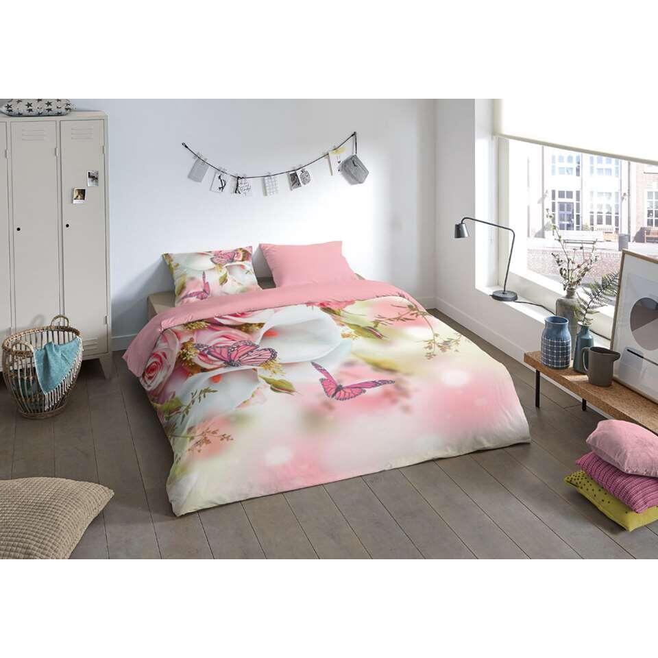 Pure dekbedovertrek Els - roze - 200x200/220 cm - Leen Bakker