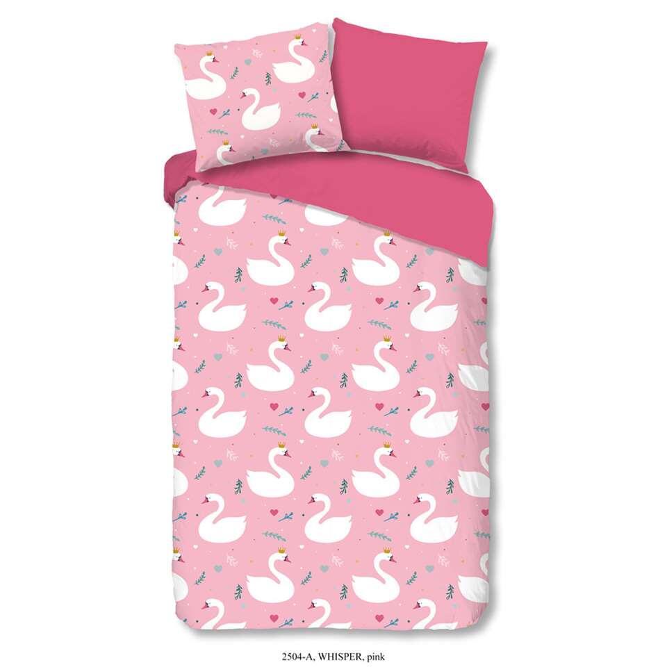 Good Morning kinderdekbedovertrek Whisper - roze - 140x200/220 cm - Leen Bakker
