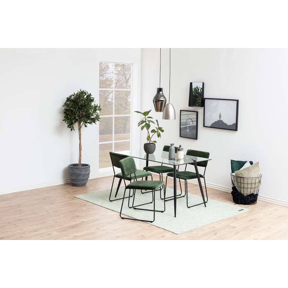 Eetkamerstoel Izeda (2 stuks) velvet groen | Leen Bakker