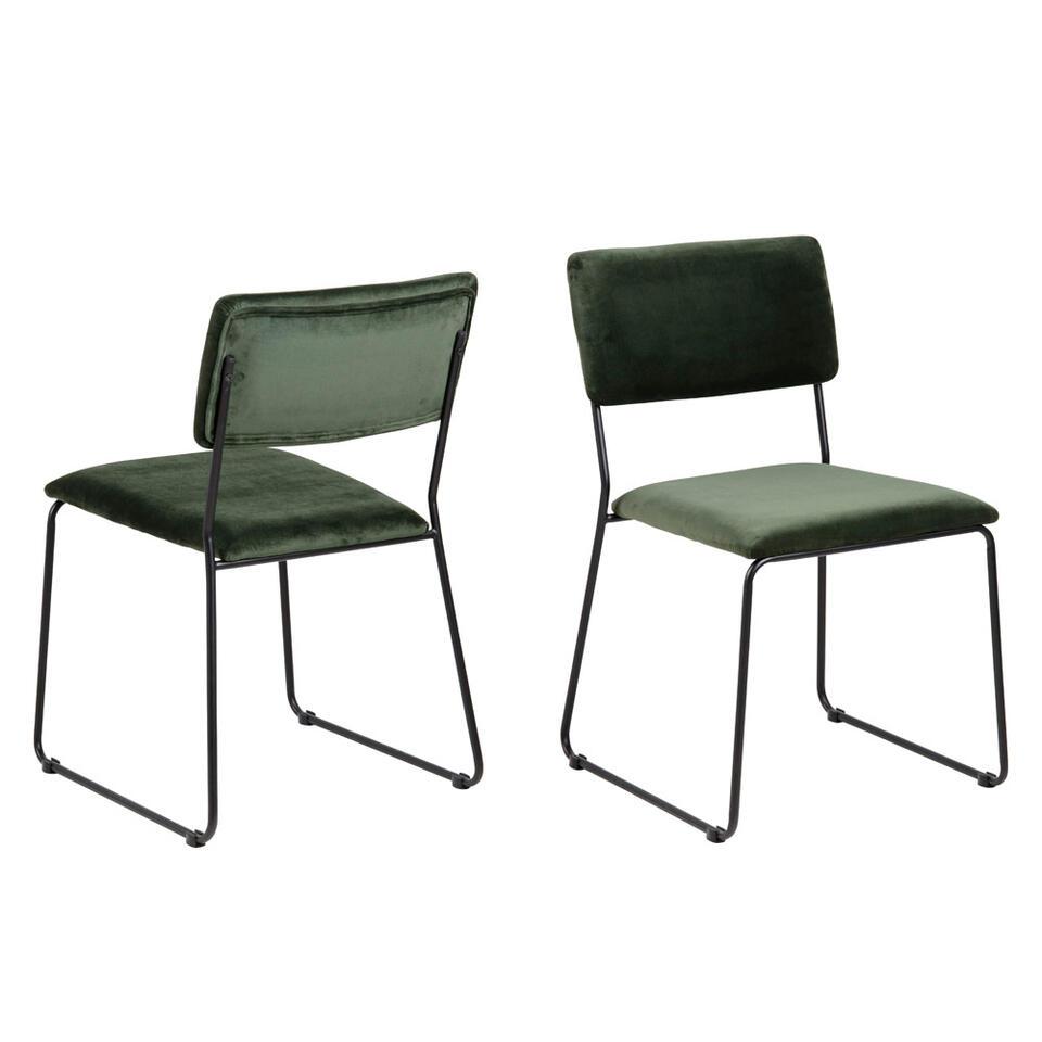 Chaise de salle à manger (2 pièces) - velours - verte