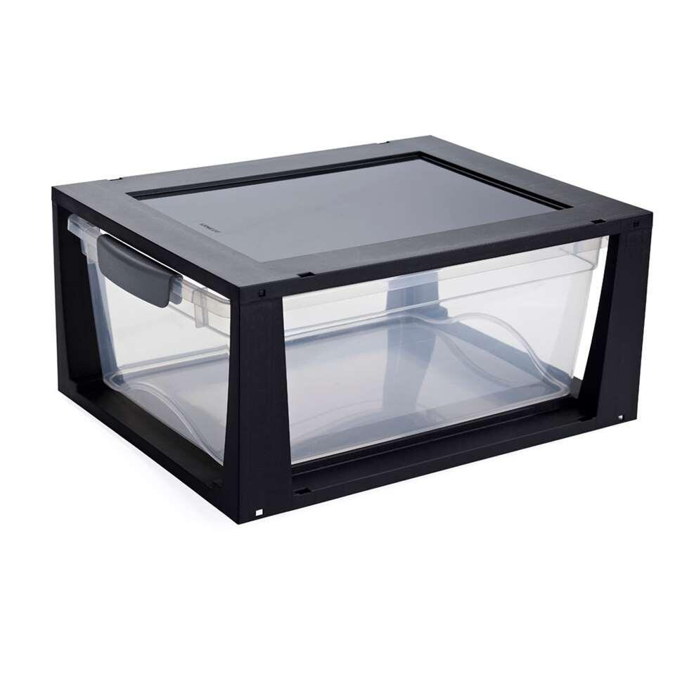 Omega ladesysteem 11 liter - transparant/zwart - 17,5x39,5x37,5 cm
