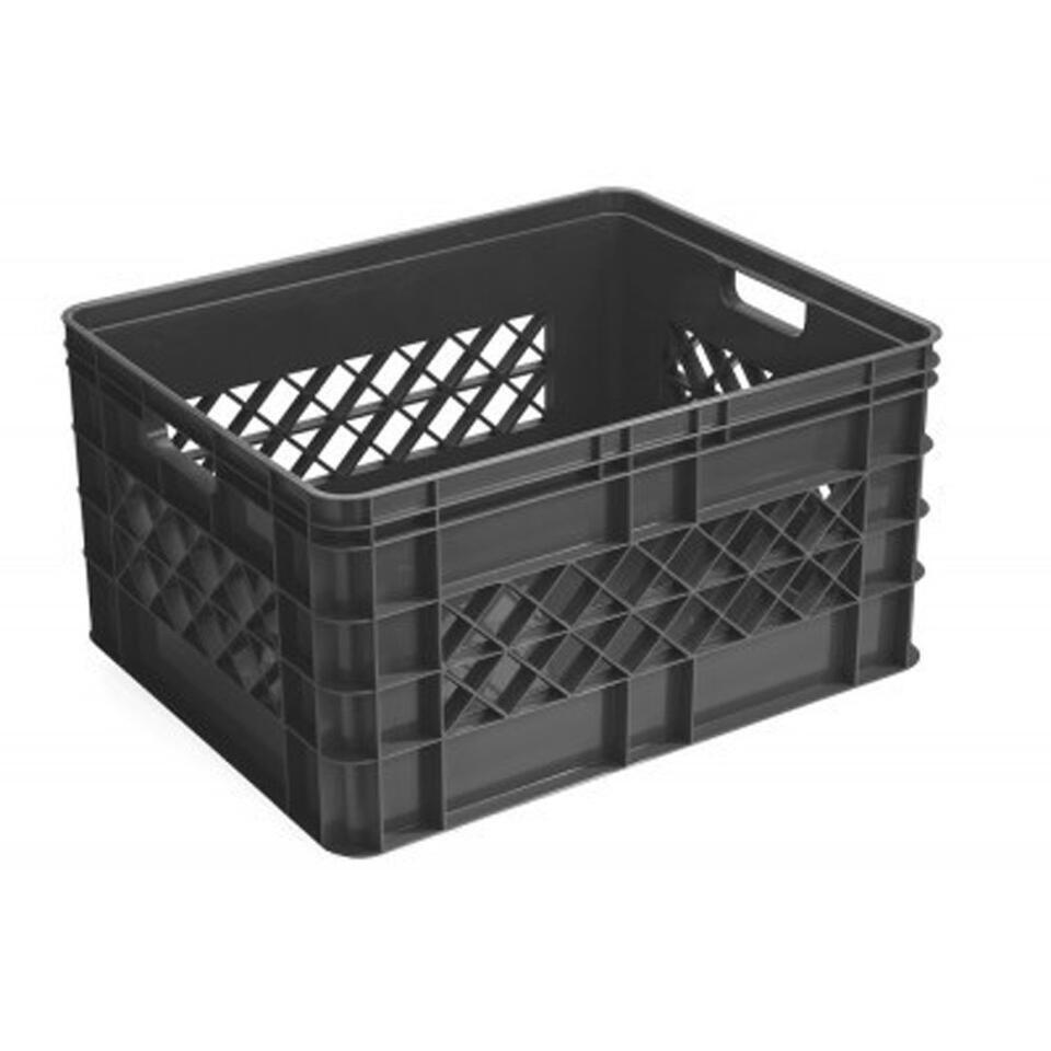 Square opberg-/boodschappenkrat 52 liter - antraciet - 26,1x40,6x50,6 cm - Leen Bakker