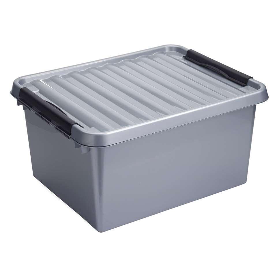 Stapelbare Q-line opbergbox 36 liter - grijs/zwart - 26x40x50 cm