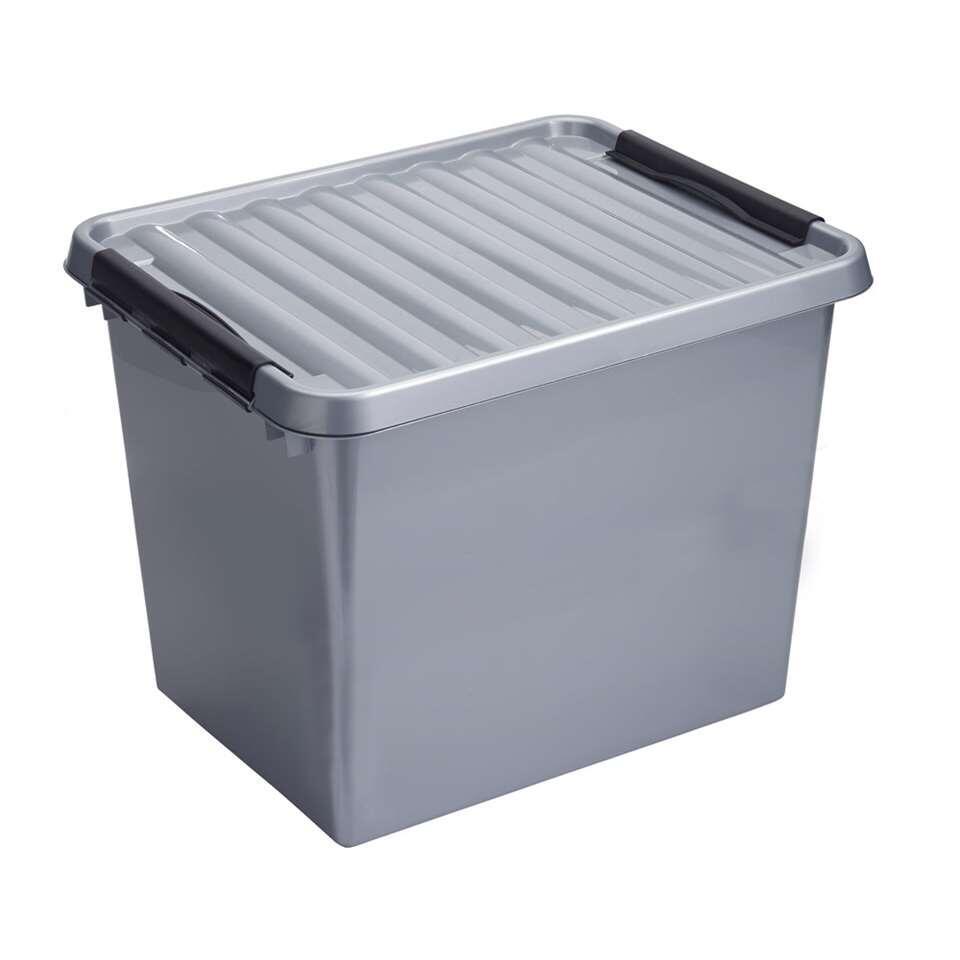 Stapelbare Q-line opbergbox 52 liter - grijs/zwart - 38x40x50 cm