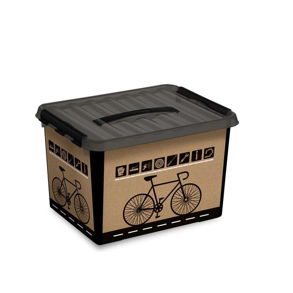 Q-line multibox fiets 22 liter - zwart/transparant - 26x30x40 cm