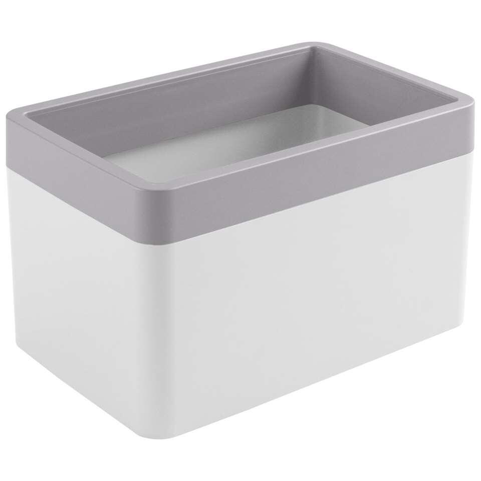 Sigma home organizer 1,65 liter - wit/lichtgrijs - 11,4x12x18 cm - Leen Bakker