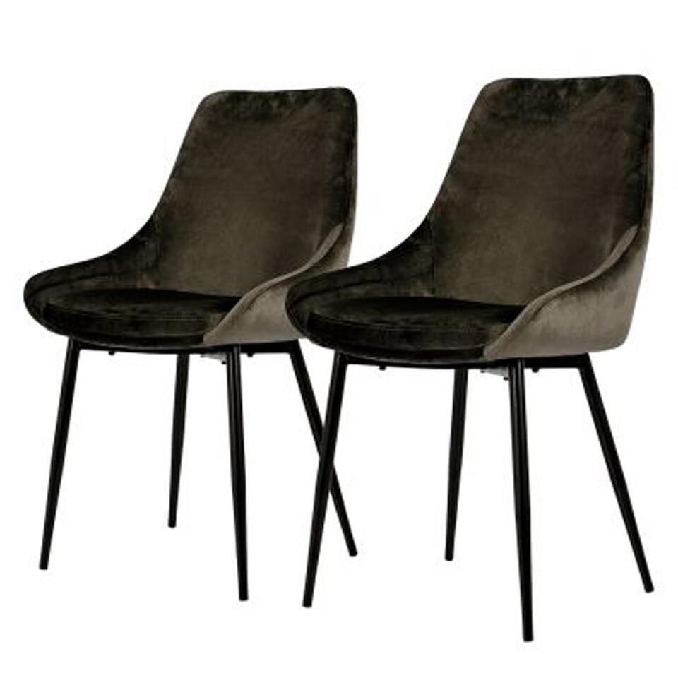 Tenzo chaise de salle à manger Lex (le lot de 2) - velours - taupe