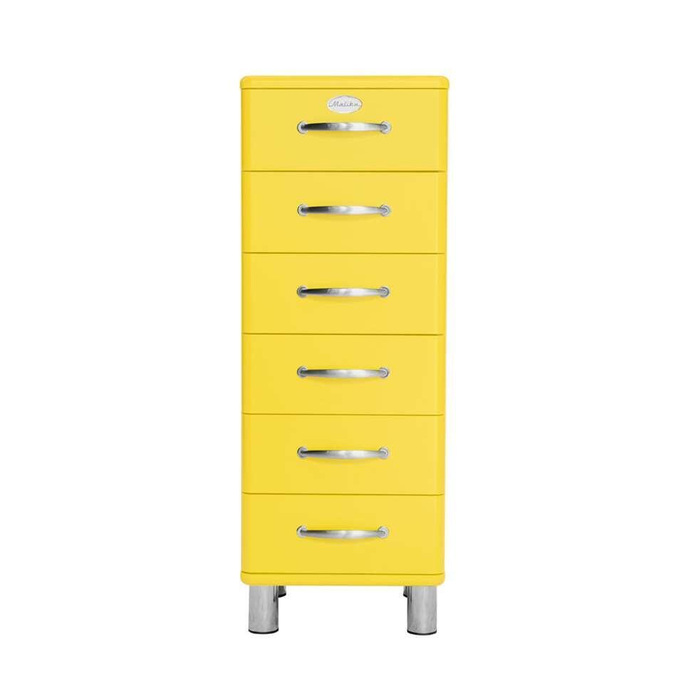 Tenzo ladekast Malibu 6 lades - geel - 111x41x41 cm - Leen Bakker