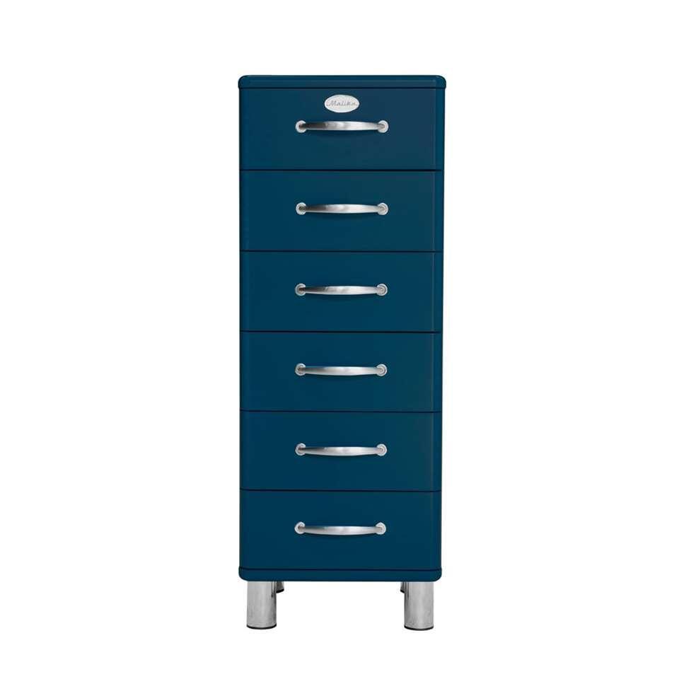 Tenzo commode Malibu 6 tiroirs - bleu pétrole - 111x41x41 cm