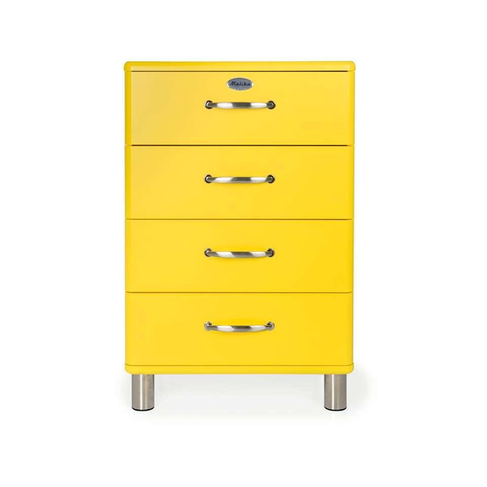Tenzo ladekast Malibu 4 lades - geel - 92x60x41 cm - Leen Bakker