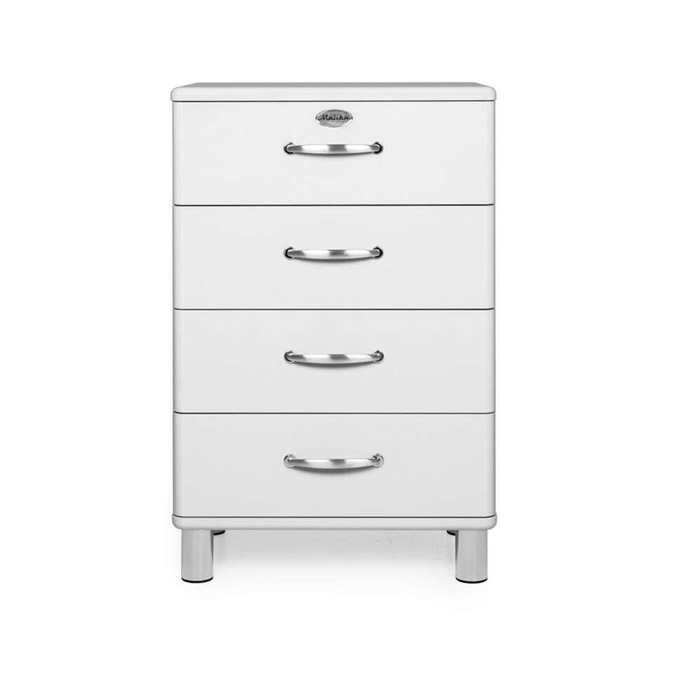 Tenzo commode Malibu 4 tiroirs - blanche - 92x60x41 cm