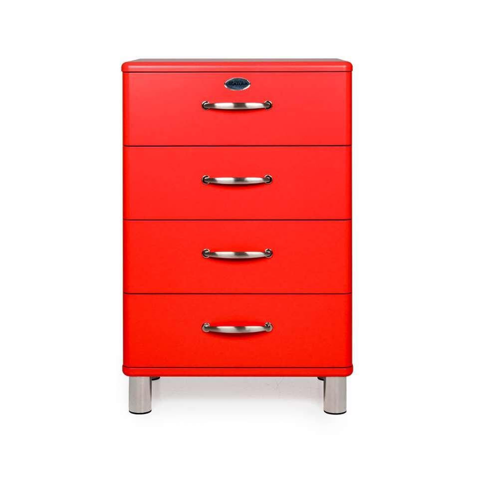 Tenzo commode Malibu 4 tiroirs - rouge - 92x60x41 cm