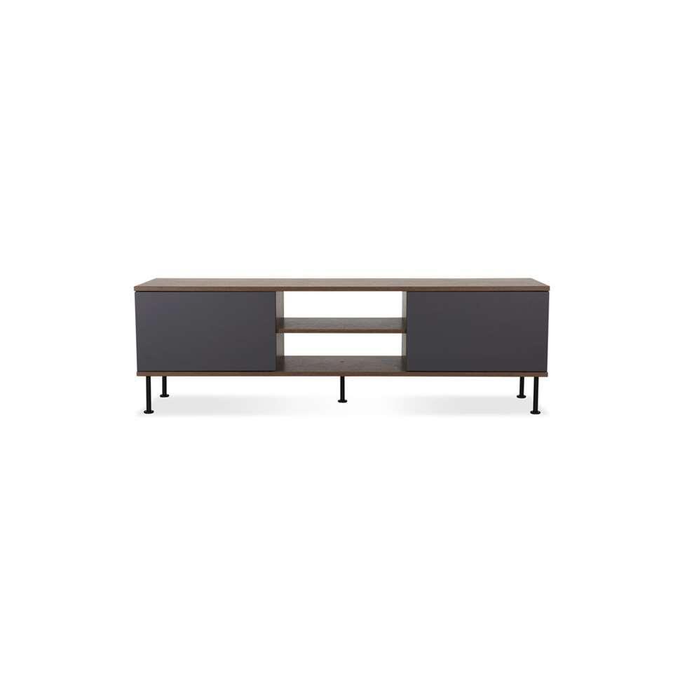 Tenzo tv-meubel Daxx - antraciet/walnoot - 52x163x43 cm - Leen Bakker