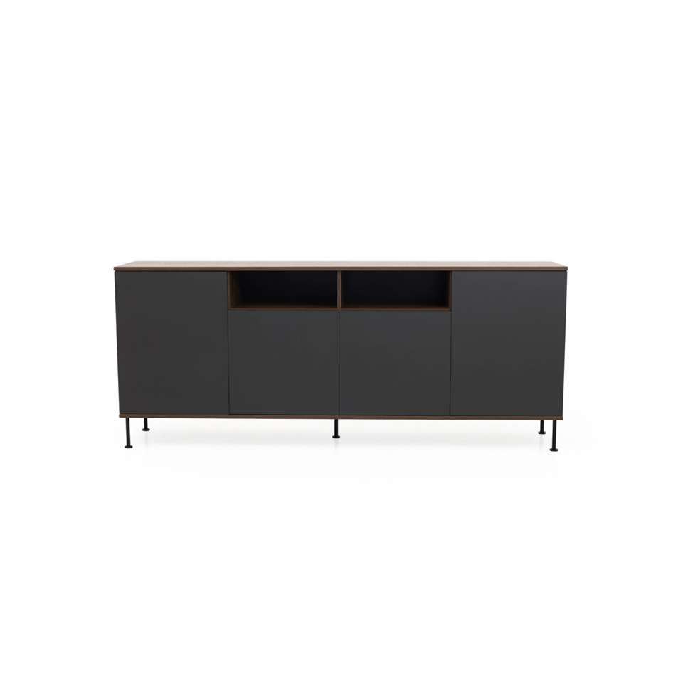 Tenzo dressoir Daxx - antraciet/walnoot - 90x217x43 cm - Leen Bakker