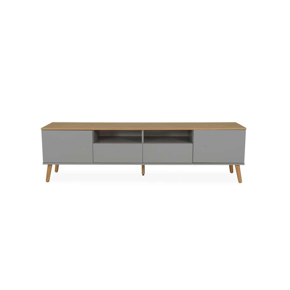 Tenzo tv-meubel Dot - grijs/eiken - 54x192x43 cm - Leen Bakker
