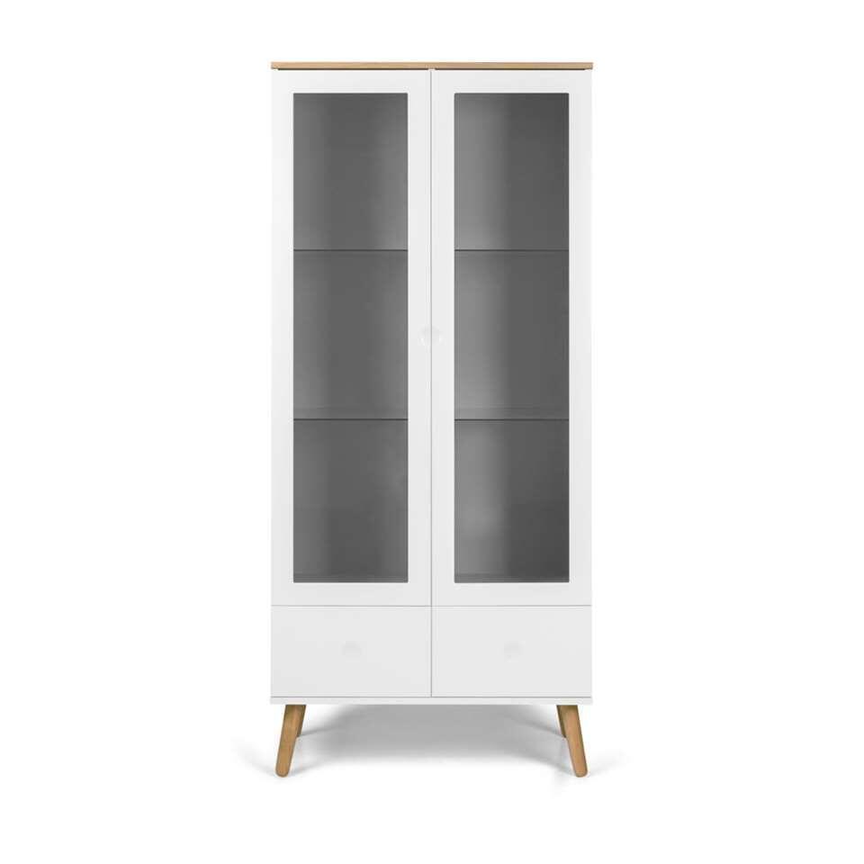 Tenzo vitrinekast Dot - wit/eiken - 175x79x43 cm