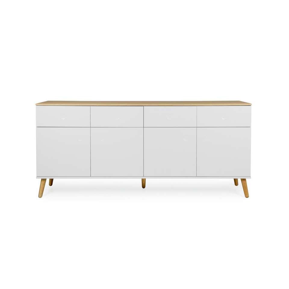 Tenzo dressoir Dot - wit/eiken - 79x192x43 cm