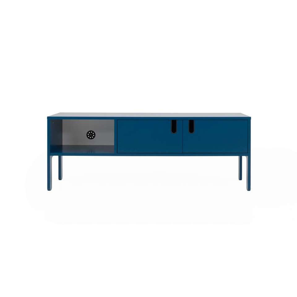 Tenzo meuble tv Uno 2 portes - bleu pétrole - 50x137x40 cm