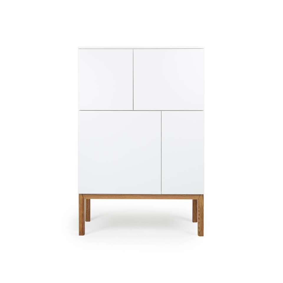 Tenzo wandkast Patch - wit/eikenkleur - 138x92x40 cm - Leen Bakker