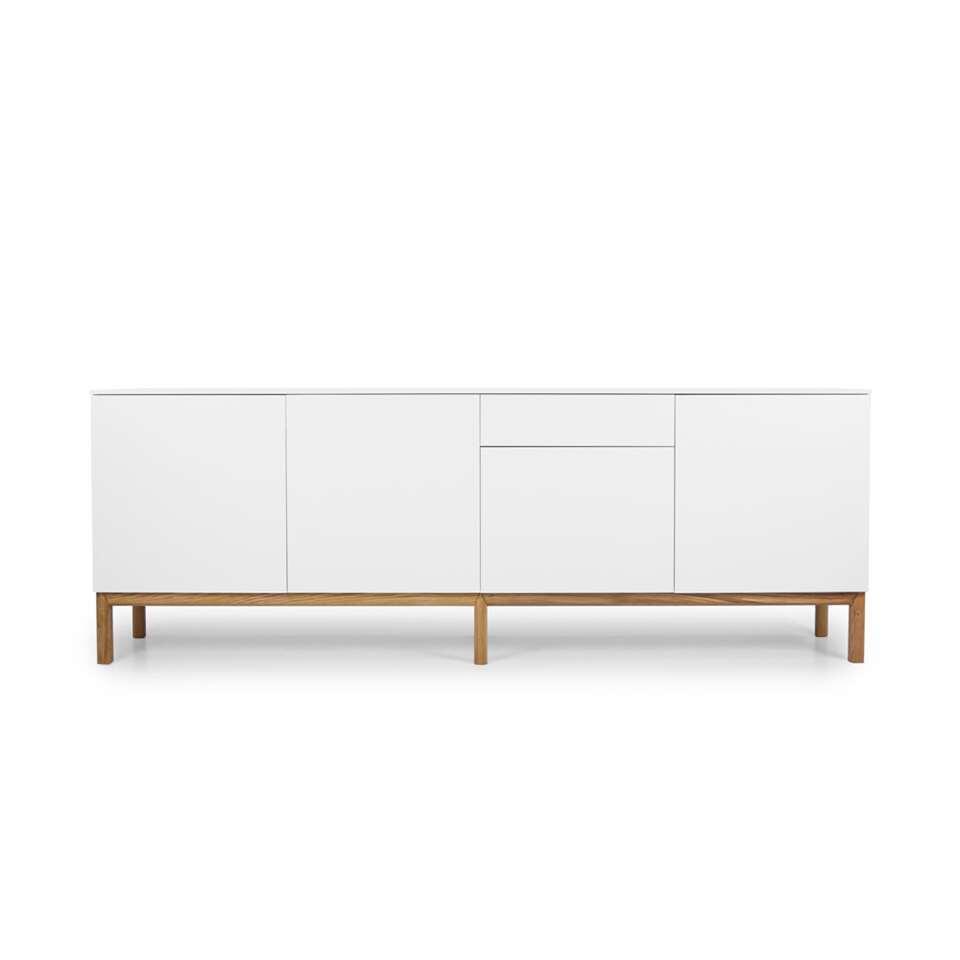 Tenzo dressoir Patch 4 deuren en 1 lade - wit/eikenkleur - 85x238,5x47 cm