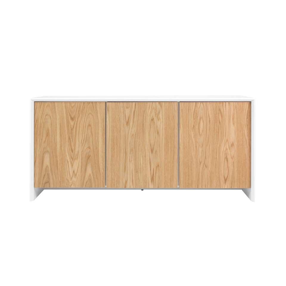 Tenzo dressoir Profil 3-deurs - wit/eikenkleur - 80x173x47 cm - Leen Bakker