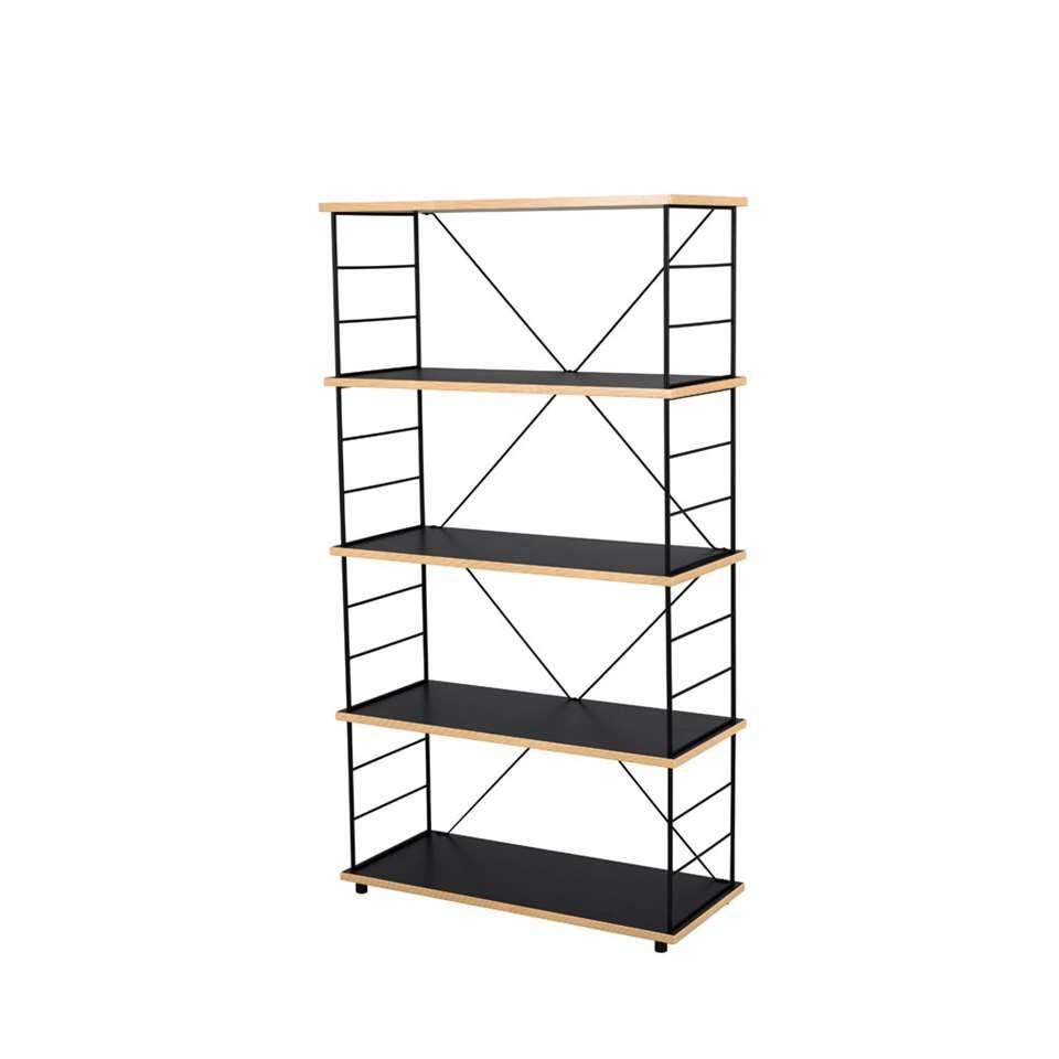 Tenzo boekenkast Exo - zwart/eikenkleur - 145x80x35 cm - Leen Bakker