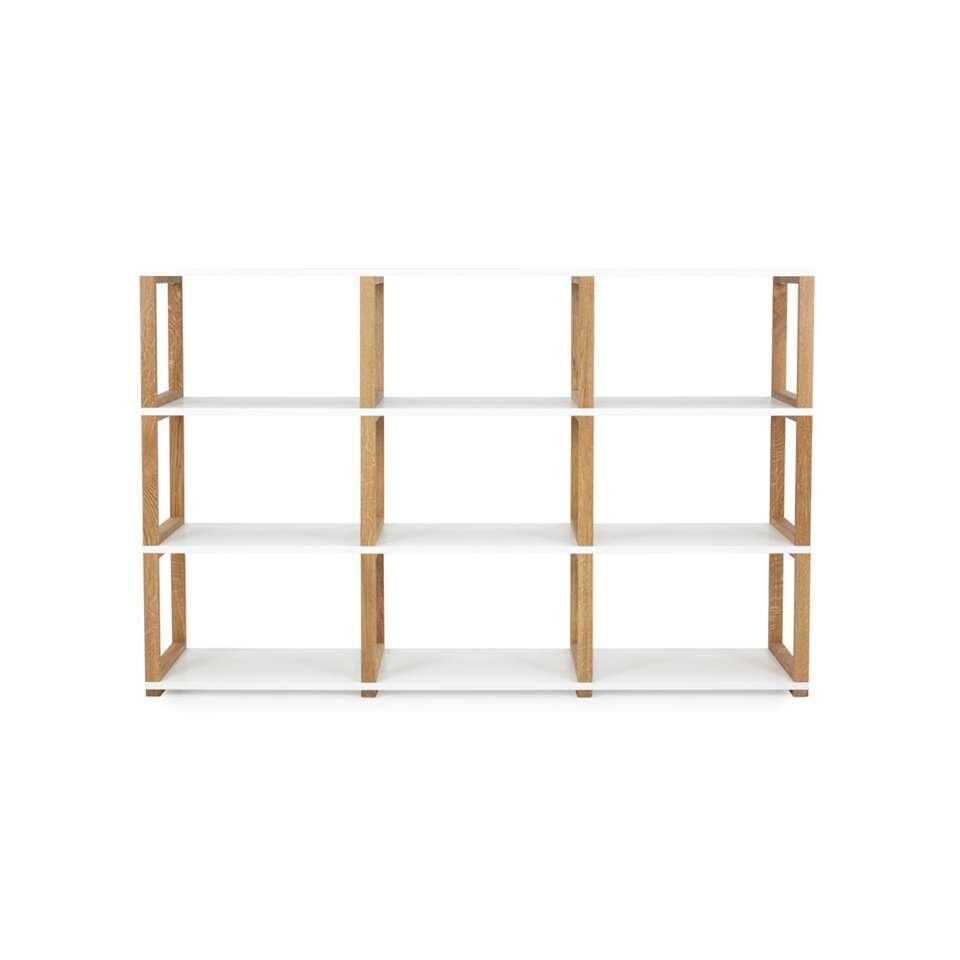 Tenzo boekenkast Art - wit/eikenkleur - 118x178x36 cm - Leen Bakker