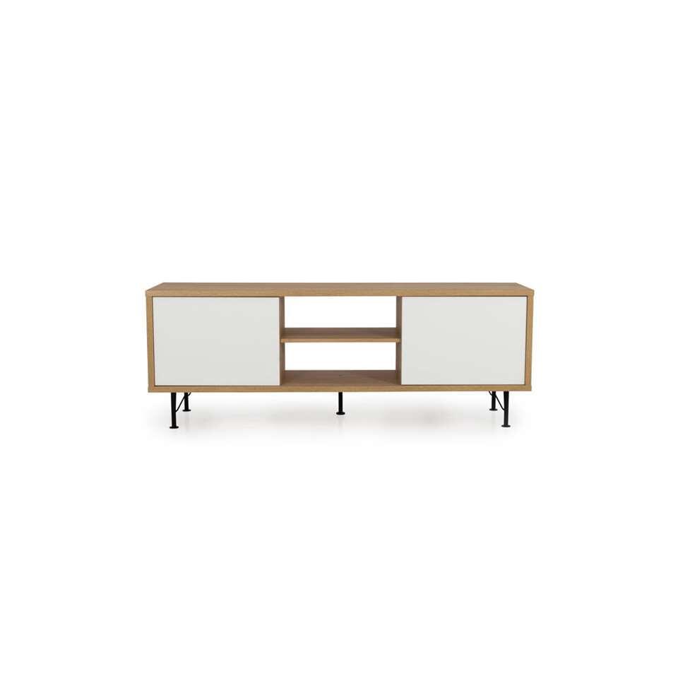 Tenzo tv-meubel Flow - eikenkleur/wit - 60x164x44 cm - Leen Bakker
