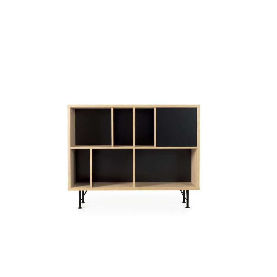 Tenzo boekenkast Flow 1 deur - eikenkleur/zwart - 91x115x31 cm