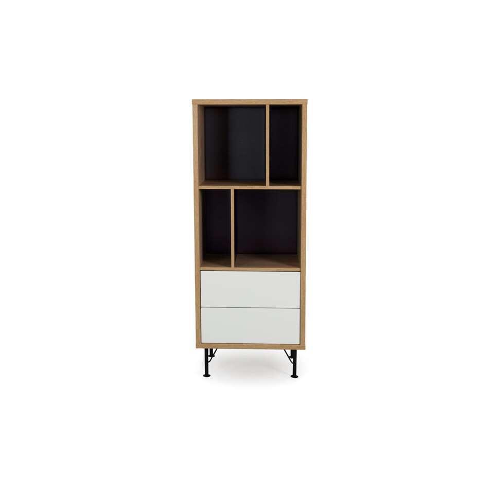 Tenzo boekenkast Flow 2 lades - eikenkleur/wit - 143x57x44 cm - Leen Bakker