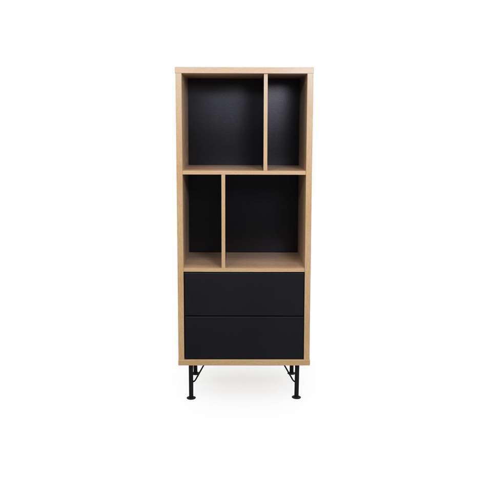 Tenzo bibliothèque Flow 2 tiroirs - couleur chêne/noire -143x57x44 cm