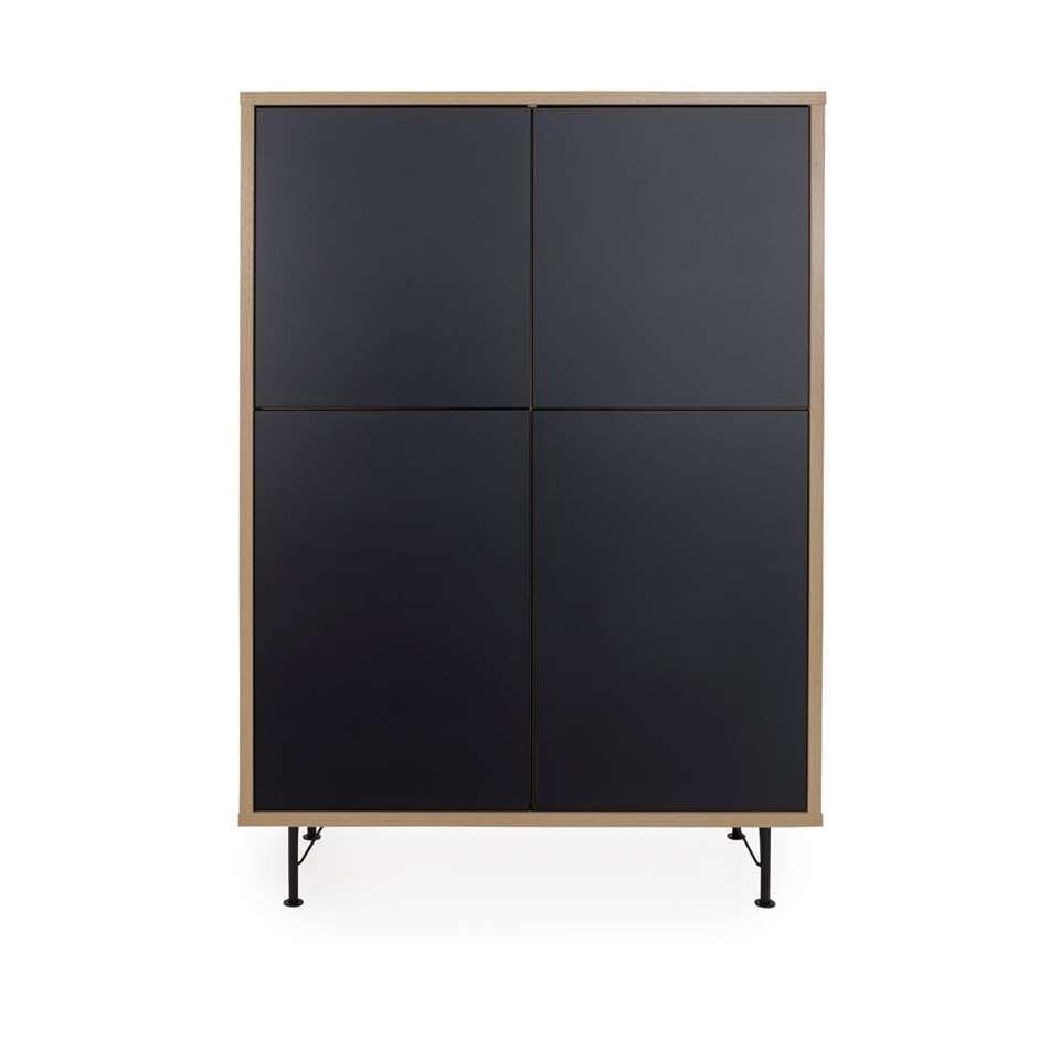 Tenzo wandkast Flow - eikenkleur/zwart - 156x111x44 cm
