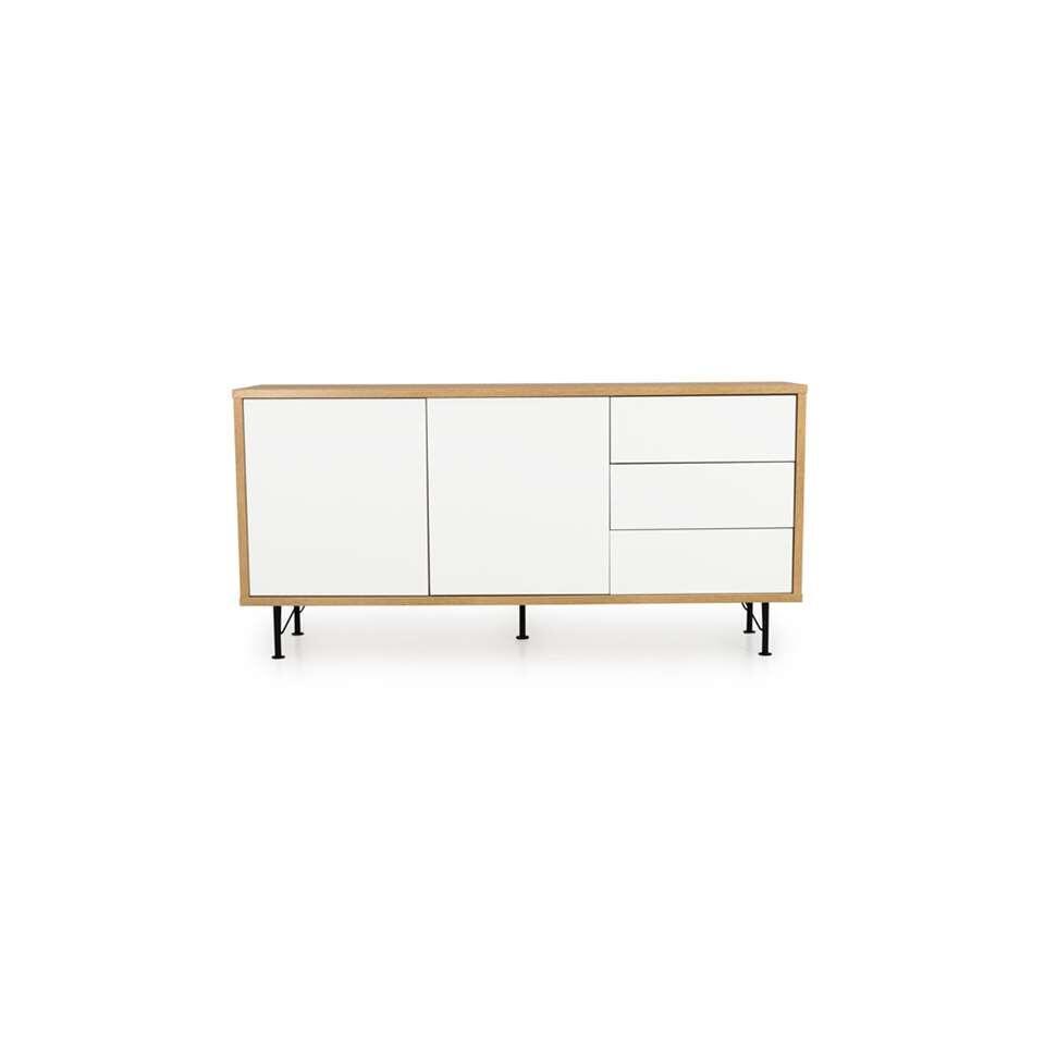 Tenzo dressoir Flow 2 deuren en 3 lades - eikenkleur/wit - 79x164x44 cm - Leen Bakker