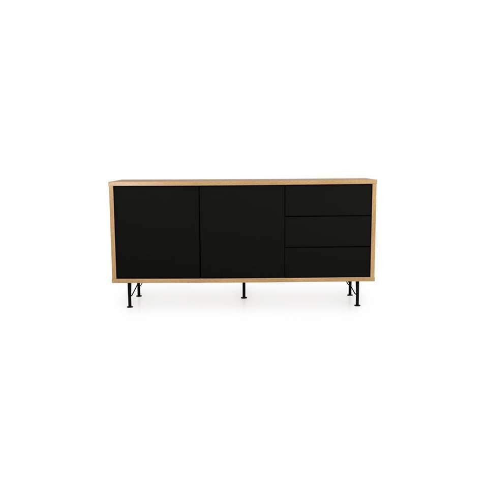 Tenzo dressoir Flow 2 portes et 3 tiroirs - couleur chêne/noir - 79x164x44 cm