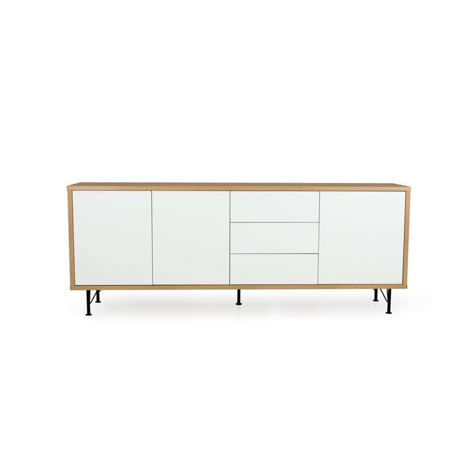 Tenzo dressoir Flow 3 deuren en 3 lades - eikenkleur/wit - 79x206x44 cm