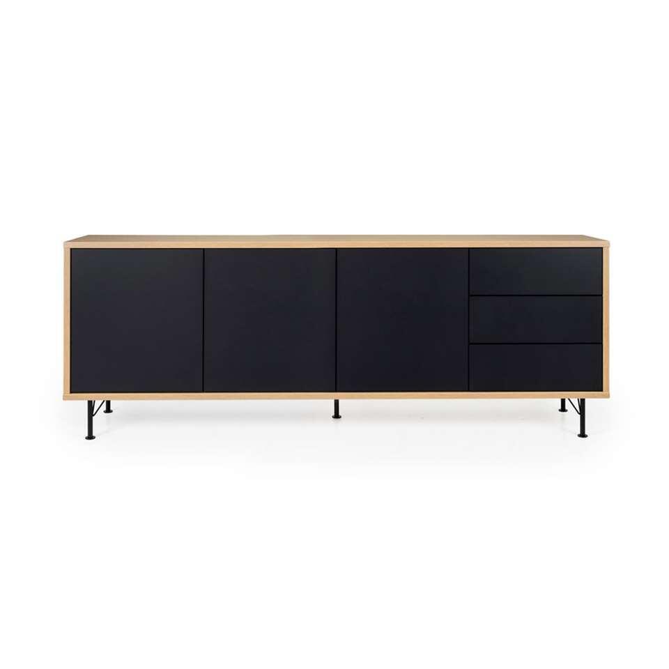 Tenzo dressoir Flow 3 deuren en 3 lades - eikenkleur/zwart - 79x206x44 cm - Leen Bakker