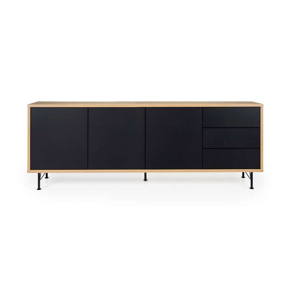 Tenzo dressoir Flow 3 deuren en 3 lades - eikenkleur/zwart - 79x206x44 cm