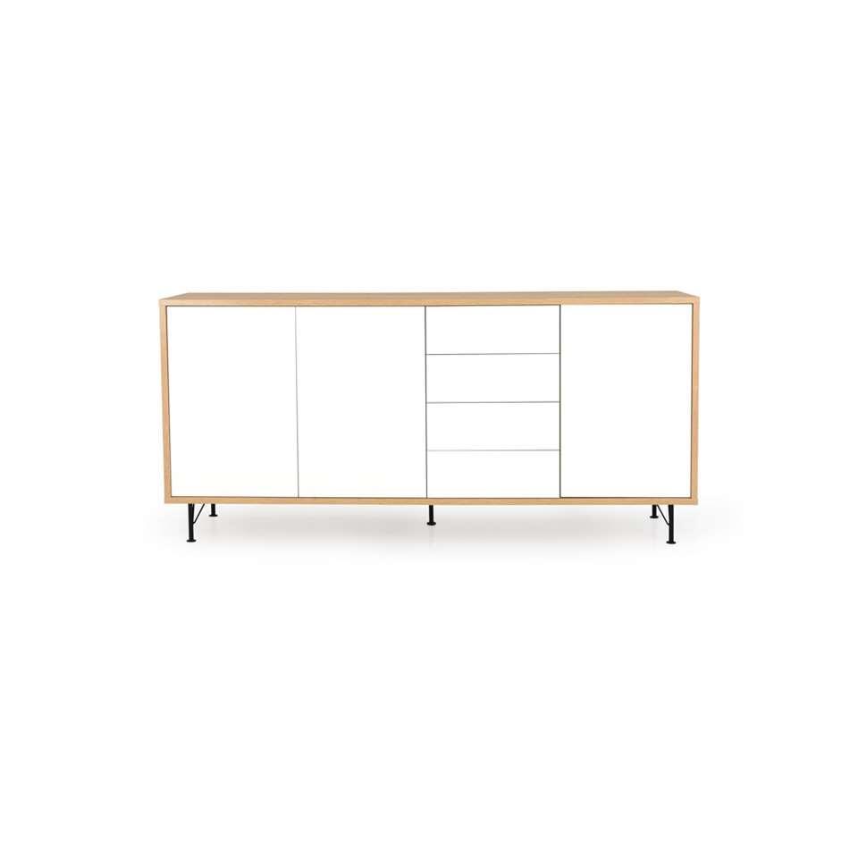 Tenzo dressoir Flow 3 deuren en 4 lades - eikenkleur/wit - 98x217x54 cm - Leen Bakker
