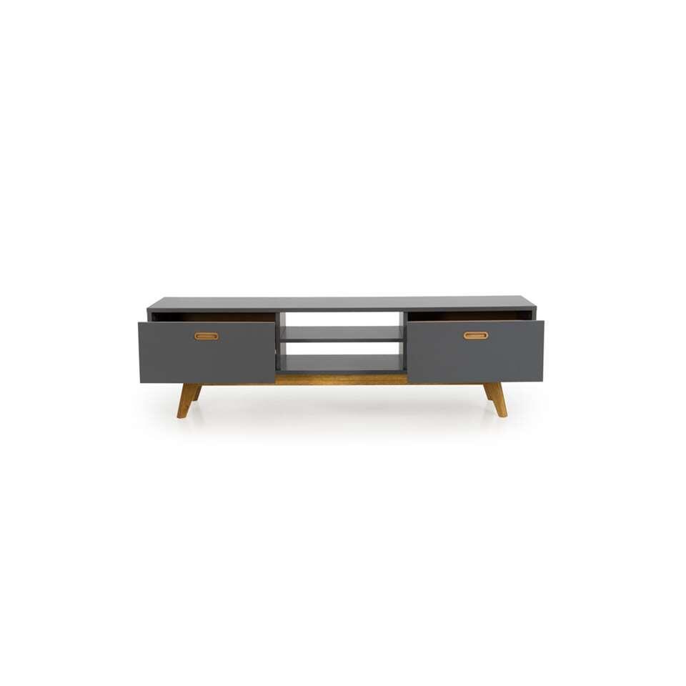 Tenzo tv-meubel Bess - grijs/eikenkleur - 50x170x43 cm - Leen Bakker